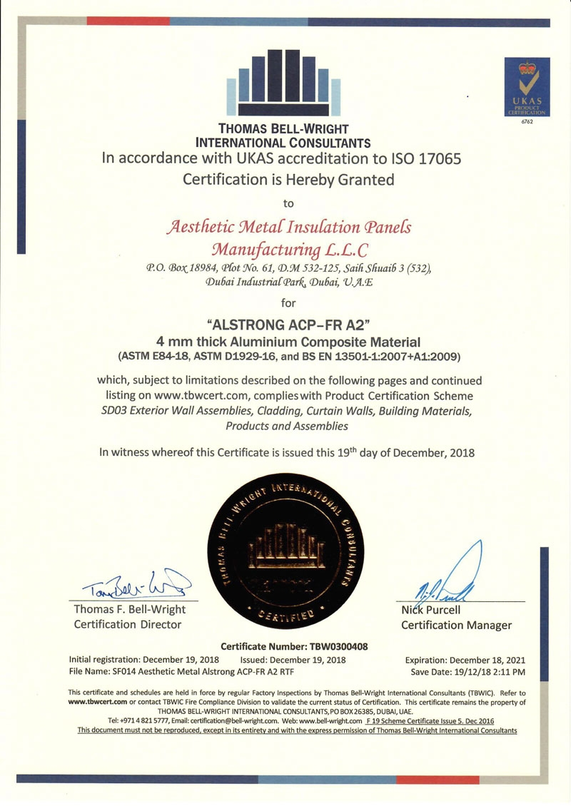 ACP EN13501 E84 D1929